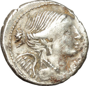 obverse: L. Valerius Flaccus.  AR Denarius, 108-107 BC. Obv. Draped bust of Victory right; below chin, X. Rev. L. VALERI/FLACCI. Mars walking left, holding spear and trophy over left shoulder; before, apex and behind, corn-ear. Cr. 306/1. B. 11. AR. g. 3.87  mm. 19.00    VF. Good metal. Perfectly centred, brilliant and lightly toned.