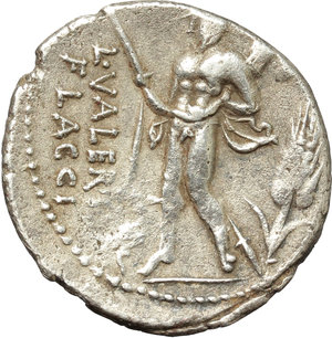 reverse: L. Valerius Flaccus.  AR Denarius, 108-107 BC. Obv. Draped bust of Victory right; below chin, X. Rev. L. VALERI/FLACCI. Mars walking left, holding spear and trophy over left shoulder; before, apex and behind, corn-ear. Cr. 306/1. B. 11. AR. g. 3.87  mm. 19.00    VF. Good metal. Perfectly centred, brilliant and lightly toned.