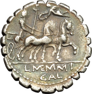 reverse: L. Memmius Galeria.  AR Denarius serratus, 106 BC. Obv. Laureate head of Saturn left; behind, harpa and ROMA; below chin, dot and M. Rev. Venus in biga right; above, Cupid flying left, holding wreath; in exergue, L. MEMMI GAL. Cr. 313/1b; B. 2. AR. g. 3.83  mm. 18.50   A very attractive example, perfectly centred and prettily toned, with iridescent hues. About EF/Good VF.