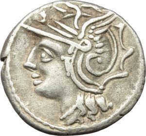 obverse: L. Appuleius Saturninus.  AR Denarius, 104 BC. Obv. Helmeted head of Roma left. Rev. Saturn in quadriga right; below horses, X; in exergue, L. SATVRN. Cr. 317/3b. B.1. AR. g. 3.85  mm. 19.00   Well centred. Nicely toned. VF.