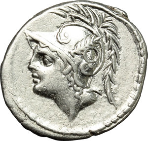obverse: Q. Thermus M.f.  AR Denarius, 103 BC. Obv. Helmeted head of Mars left. Rev. Roman soldier fighting enemy in protection of fallen comrade; in exergue, Q. THERM. MF. Cr. 319/1. B. (Minucia) 19. AR. g. 3.88  mm. 20.50   Good metal and broad flan. Well centred and brilliant. About EF.