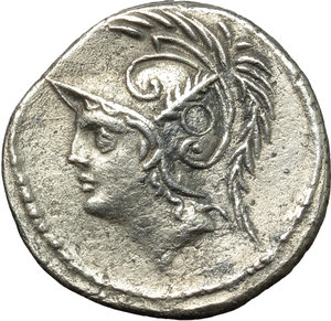 obverse: Q. Thermus M.f.  AR Denarius, 103 BC. Obv. Helmeted head of Mars left. Rev. Roman soldier fighting enemy in protection of fallen comrade; in exergue, Q. THERM. MF. Cr. 319/1. B. (Minucia) 19. AR. g. 3.83  mm. 20.00   Perfectly centred on broad flan, from a detailed reverse die. Minor roughness, otherwise about EF.
