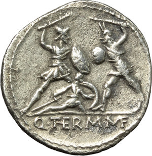 reverse: Q. Thermus M.f.  AR Denarius, 103 BC. Obv. Helmeted head of Mars left. Rev. Roman soldier fighting enemy in protection of fallen comrade; in exergue, Q. THERM. MF. Cr. 319/1. B. (Minucia) 19. AR. g. 3.83  mm. 20.00   Perfectly centred on broad flan, from a detailed reverse die. Minor roughness, otherwise about EF.