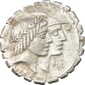 Q. Fufius Calenus and Mucius Cordus.  AR Denarius serratus, 70 BC. Obv. Jugate heads of Honos and Virtus right; in left field, HO and in right field, VIRT. Below, KALENI. Rev. Italia, holding cornucopiae, and Roma, holding fasces and placing right foot on globe, clasping their hands; at sides, winged caduceus/ ITAL-RO. In exergue, CORDI. Cr. 403/1. B.1. AR. g. 3.67  mm. 20.00  Scarce. An attractive example, well centred on a broad flan and nicely toned. A little porous, otherwise about EF/EF.