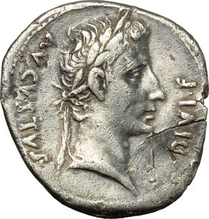 obverse: Augustus (27 BC - 14 AD).  AR Denarius, Lugdunum mint, c. 10 BC. Obv. AVGVSTVS DIVI F. Laureate head right. Rev. Bull butting right; in exergue, IMP XII. RIC 187 a. AR. g. 3.80  mm. 19.00  Scarce. Superb idealized portrait. Prettily toned. Slight bend in flan, otherwise VF.