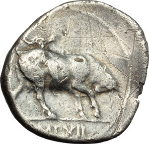 reverse: Augustus (27 BC - 14 AD).  AR Denarius, Lugdunum mint, c. 10 BC. Obv. AVGVSTVS DIVI F. Laureate head right. Rev. Bull butting right; in exergue, IMP XII. RIC 187 a. AR. g. 3.80  mm. 19.00  Scarce. Superb idealized portrait. Prettily toned. Slight bend in flan, otherwise VF.