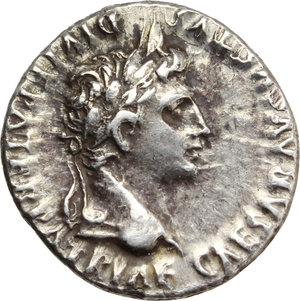obverse: Augustus (27 BC - 14 AD).  AR Denarius, Lugdunum mint. Struck 2 BC - 4 AD. Obv. CAESAR AVGVSTVS DIVI F PATER PATRIAE. Laureate head right. Rev. C L CAESARES (in exergue) AVGVSTI F COS DESIG PRINC IVVENT. Gaius and Lucius Caesares, on left and right, standing facing, each togate and resting hand on shield set on ground between them; behind each shield, spear; above, on left, simpulum right, and on right, lituus left. RIC 207. AR. g. 3.83  mm. 18.00    About EF.