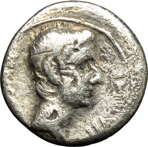 obverse: Augustus (27 B.C - 14 AD).  AR Quinarius, c. 29-27 BC. Obv. [CAESAR IMP VII]. Bare head of Octavian right. Rev. ASIA RECEPTA. Victory standing left on cista mystica flanked by two snakes. RIC 276. AR. g. 1.39  mm. 13.00    About VF/VF.