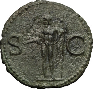 reverse: Agrippa (died 12 BC).  AE As, Rome mint. Struck under Caligula, 37-41 AD. Obv. M AGRIPPA L F COS III. Head left, wearing rostral crown. Rev. SC. Neptune standing left, holding small dolphin and trident. RIC (Gaius) 58. AE. g. 10.84  mm. 28.00   A very attractive example. Dark green patina. About EF.