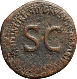 reverse: Drusus, son of Tiberius (died 23 AD).  AE Sestertius, struck under Tiberius, 22-23 AD. Obv. Two crossed cornucopiae, surmounted by the heads of Drusus  children, with winged caduceus between. Rev. DRVSVS CAESAR TI AVG F DIVI AVG N PONT TR POT II around large SC. RIC (Tib.) 42. AE. g. 25.96  mm. 36.50  Scarce. Rare. Brown patina. VF.