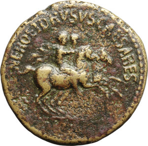 obverse: Nero and Drusus Caesares, sons of Germanicus and Agrippina Senior (died 31 and 33 AD).  AE Dupondius, struck under Caligula, 40-41 AD. Obv. NERO ET DRVSVS CAESARES. Nero and Drusus galloping right. Rev. C CAESARES DIVI AVG PRON AVG PM TR P IIII PP around large SC. RIC (Cal.) 49. AE. g. 14.78  mm. 29.50  RR. Rare. Nice glossy leather-brown patina, with lighter orichalcum highlights. VF/Good VF.