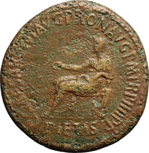 obverse: Caligula (37-41).  AE Sestertius, Rome mint, 40-41 AD. Obv. C CAESAR DIVI AVG PRON AVG PM TR P IIII PP. Pietas seated left, holding patera, left arm resting on small figure on basis. Rev. DIVO AVG SC. Hexastyle temple, before which Gaius, veiled, sacrifices with patera over altar; one attendant leads bull to the altar; a second holds patera. RIC 51. AE. g. 26.37  mm. 36.00  R. Rare. Light brown patina. Roughness, otherwise about VF/VF.