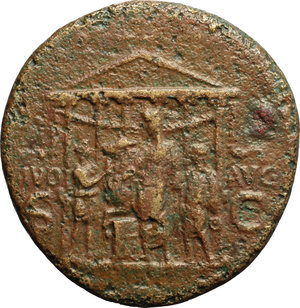 reverse: Caligula (37-41).  AE Sestertius, Rome mint, 40-41 AD. Obv. C CAESAR DIVI AVG PRON AVG PM TR P IIII PP. Pietas seated left, holding patera, left arm resting on small figure on basis. Rev. DIVO AVG SC. Hexastyle temple, before which Gaius, veiled, sacrifices with patera over altar; one attendant leads bull to the altar; a second holds patera. RIC 51. AE. g. 26.37  mm. 36.00  R. Rare. Light brown patina. Roughness, otherwise about VF/VF.