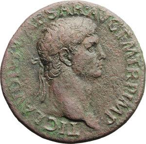obverse: Claudius (41-54).  AE Sestertius. Obv. TI CLAVDIVS CAESAR AVG PM TR P IMP. Laureate head right. Rev. EX SC/OB/CIVES/SERVATOS in oak-wreath. RIC 96. C. 39. AE. g. 26.52  mm. 34.00   Brown patina with green and reddish hues. Good VF/VF.