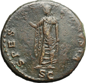 reverse: Claudius (41-54).  AE Sestertius, Rome mint. Obv. TI CLAVDIVS CAESAR AVG PM TR P IMP [PP]. Laureate head right. Rev. SPES AVGVSTA SC. Spes advancing left, holding flower aloft and lifting hem of skirt. RIC 115. C. 85. AE. g. 25.67  mm. 34.50   A superb portrait. Green-brown patina. Gently smoothed, otherwise good VF.