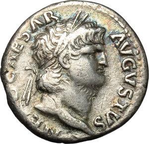 obverse: Nero (54-68).  AR Denarius, 65-66 AD. Obv. NERO CAESAR AVGVSTVS. Laureate head right. Rev. SALVS. Salus seated left on throne, holding patera. RIC 60. AR. g. 3.16  mm. 17.50  R. Prettily toned, with iridescent hues. Good VF/VF.