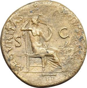 reverse: Nero (54-68).  AE Dupondius. Obv. NERO CLAVDIVS CAESAR AVG GER PM TR P IMP PP. Radiate head right. Rev. SECVRITAS AVGVSTI SC. Securitas seated right, holding sceptre; to right, lighted altar against which leans torch resting on bucranium; in exergue, II. RIC 193. AE. g. 15.26  mm. 28.50   A pleasant example. Orichalcum surfaces. VF.