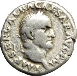 obverse: Galba (68-69).  AR Denarius, Rome mint. Obv. IMP SER GALBA CAESAR AVG PM. Laureate head right. Rev. DIVA AVGVSTA. Livia standing left, holding patera and sceptre. RIC 224 (R2). AR. g. 3.28  mm. 19.00   Very rare. Lightly toned. VF.