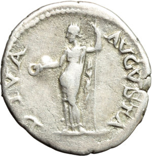 reverse: Galba (68-69).  AR Denarius, Rome mint. Obv. IMP SER GALBA CAESAR AVG PM. Laureate head right. Rev. DIVA AVGVSTA. Livia standing left, holding patera and sceptre. RIC 224 (R2). AR. g. 3.28  mm. 19.00   Very rare. Lightly toned. VF.