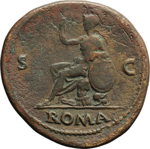 reverse: Galba (68-69).  AE Sestertius, Rome mint. Obv. SER GALBA IMP CAES AVG. Laureate and draped bust right. Rev. ROMA SC. Roma seated left on cuirass, holding spear and resting left arm on shield. RIC 449 var. (head right, laureate). AE. g. 25.61  mm. 37.00  R. Rare. Green brown patina. Metal flaw on obverse. About VF.