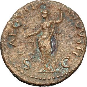 reverse: Galba (68-69).  AE As, Rome mint,. Obv. SER SVLPI GALBA IMP CAESAR AVG PM TR P. Laureate head right. Rev. AEQVITAS AVGVSTI SC. Aequitas standing half-left, holding scales and sceptre. RIC 494. AE. g. 9.75  mm. 28.00  R. Rare. Brown patina with green spots. VF.