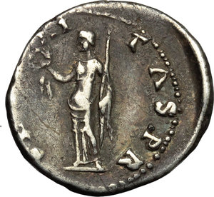 Otho (69 AD).  AR Denarius, Rome mint, struck 15 January-8 March 69 AD. Obv. [IMP MO]THO CAESAR AVG TR P. Bare head right. Rev. [SECV]RITAS PR. Securitas standing left, holding wreath and sceptre. RIC 8. AR. g. 3.25  mm. 19.00  RR. Very rare. A bold portrait. Pleasant old cabinet tone. VF.
