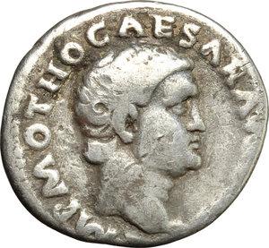 obverse: Otho (69 AD).  AR Denarius, Rome mint. Obv. IMP M OTHO CAESAR AVG [TR P]. Bare head right. Rev. PAX ORBIS TERRARVM. Pax standing left, holding olive branch and caduceus. RIC 4. AR. g. 3.08  mm. 18.00  RR. Very rare. Toned. F.