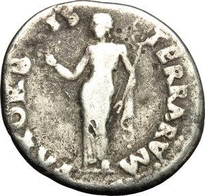 reverse: Otho (69 AD).  AR Denarius, Rome mint. Obv. IMP M OTHO CAESAR AVG [TR P]. Bare head right. Rev. PAX ORBIS TERRARVM. Pax standing left, holding olive branch and caduceus. RIC 4. AR. g. 3.08  mm. 18.00  RR. Very rare. Toned. F.