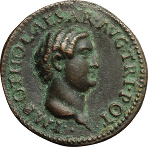 obverse: Otho (69 AD).  AE Fantasy  Sestertius ,  Paduan  after Giovanni Cavino (1499-1570). Late aftercast (19th century?). Obv. IMP OTHO CAESAR AVG TRI POT. Bare head right. Rev. SECVRITAS PR SC. Otho standing right, offering sacrifice before detachment of soldiers. Lawrence 23 var. (TR on obverse legend). Klawans 3. AE. g. 22.42  mm. 36.00   Deep brown surfaces with green hues. About EF/EF.