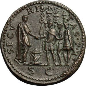 reverse: Otho (69 AD).  AE Fantasy  Sestertius ,  Paduan  after Giovanni Cavino (1499-1570). Late aftercast (19th century?). Obv. IMP OTHO CAESAR AVG TRI POT. Bare head right. Rev. SECVRITAS PR SC. Otho standing right, offering sacrifice before detachment of soldiers. Lawrence 23 var. (TR on obverse legend). Klawans 3. AE. g. 22.42  mm. 36.00   Deep brown surfaces with green hues. About EF/EF.