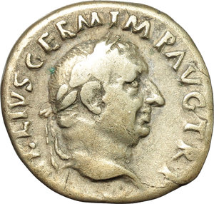 obverse: Vitellius (69 AD).  AR Denarius, Rome mint. Obv. A VITELLIVS GERM IMP AVG TR P. Laureate head right. Rev. LIBERTAS RESTITVTA. Libertas standing facing, head right, holding pileus and long sceptre. RIC 105. AR. g. 2.93  mm. 19.00  R. Rare. Nicely toned. VF/F.