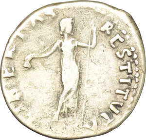 reverse: Vitellius (69 AD).  AR Denarius, Rome mint. Obv. A VITELLIVS GERM IMP AVG TR P. Laureate head right. Rev. LIBERTAS RESTITVTA. Libertas standing facing, head right, holding pileus and long sceptre. RIC 105. AR. g. 2.93  mm. 19.00  R. Rare. Nicely toned. VF/F.