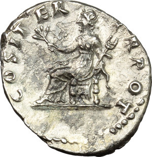 reverse: Vespasian (69-79).  AR Denarius, 69-71 AD. Obv. IMP CAESAR VESPASIAN AVG. Laureate head right. Rev. COS ITER TR POT. Pax seated left, holding branch and caduceus. RIC 10. AR. g. 3.18  mm. 20.00   Superb portrait in high relief. Glossy cabinet tone. Spots of light corrosion on reverse, otherwise  about EF.