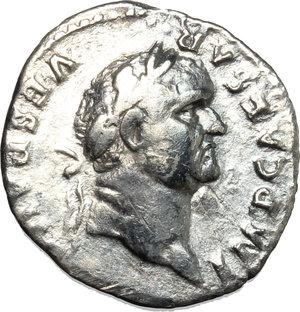 obverse: Vespasian (69-79).  AR Denarius, 74 AD. Obv. IMP CAESAR VESP AVG. Laureate head right. Rev. COS V between two trees. RIC 72. C. 110. AR. g. 2.96  mm. 19.00  R. Rare. Lustrous and prettily toned. VF.