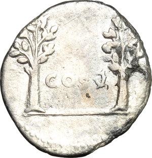 reverse: Vespasian (69-79).  AR Denarius, 74 AD. Obv. IMP CAESAR VESP AVG. Laureate head right. Rev. COS V between two trees. RIC 72. C. 110. AR. g. 2.96  mm. 19.00  R. Rare. Lustrous and prettily toned. VF.