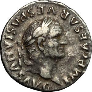 obverse: Vespasian (69-79).  AR Denarius, 74 AD. Obv. IMP CAESAR VESPASIANVS AVG. Laureate head right. Rev. PON MAX TR P COS V. Winged caduceus. RIC 75. C. 362. AR. g. 2.96  mm. 18.50   Broad flan. Old cabinet tone. AR.