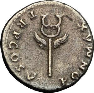 reverse: Vespasian (69-79).  AR Denarius, 74 AD. Obv. IMP CAESAR VESPASIANVS AVG. Laureate head right. Rev. PON MAX TR P COS V. Winged caduceus. RIC 75. C. 362. AR. g. 2.96  mm. 18.50   Broad flan. Old cabinet tone. AR.