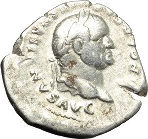 obverse: Vespasian (69-79).  AR Denarius, 74 AD. Obv. IMP CAESAR VESPASIANVS AVG. Laureate head right. Rev. PON MAX TR P COS V. Emperor seated right on curule chair, holding sceptre and olive branch. RIC 77. C. 364. AR. g. 3.04  mm. 22.00    VF.
