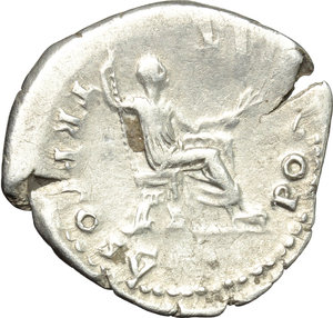 reverse: Vespasian (69-79).  AR Denarius, 74 AD. Obv. IMP CAESAR VESPASIANVS AVG. Laureate head right. Rev. PON MAX TR P COS V. Emperor seated right on curule chair, holding sceptre and olive branch. RIC 77. C. 364. AR. g. 3.04  mm. 22.00    VF.