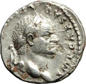 obverse: Vespasian (69-79).  AR Denarius, 75 AD. Obv. IMP CAESAR VE[SPASIANVS AVG]. Laureate head right. Rev. COS VI across field; eagle standing facing, head left, wings spread, holding thunderbolt in claws, on low garlanded cippus. RIC 89. C. 113. AR. g. 3.44  mm. 18.00    Good VF.