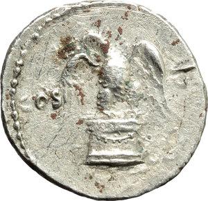 reverse: Vespasian (69-79).  AR Denarius, 75 AD. Obv. IMP CAESAR VE[SPASIANVS AVG]. Laureate head right. Rev. COS VI across field; eagle standing facing, head left, wings spread, holding thunderbolt in claws, on low garlanded cippus. RIC 89. C. 113. AR. g. 3.44  mm. 18.00    Good VF.