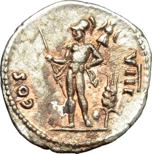 reverse: Vespasian (69-79).  AR Denarius, 77-78 AD. Obv. IMP CAESAR VESPASIANVS AVG. Laureate head right. Rev. COS VIII. Mars standing left, holding spear and trophy; in ground to left, corn-ear. RIC 104 C. 127. AR. g. 3.01  mm. 19.00   Good metal. Superb portrait and broad flan. Prettily toned, with lovely reddish spots. About EF.