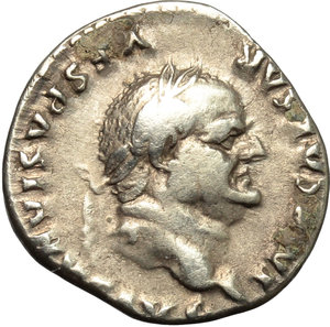obverse: Vespasian (69-79).  AR Denarius, 77 AD. Obv. IMP CAESAR VESPASIANVS AVG. Laureate head right. Rev. COS VIII. Yoke of oxen left. RIC 107. C. 133. AR. g. 3.20  mm. 18.00   Prettily toned with golden hues. Uncleaned black deposits on reverse. VF.