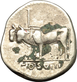 reverse: Vespasian (69-79).  AR Denarius, 77 AD. Obv. IMP CAESAR VESPASIANVS AVG. Laureate head right. Rev. COS VIII. Yoke of oxen left. RIC 107. C. 133. AR. g. 3.20  mm. 18.00   Prettily toned with golden hues. Uncleaned black deposits on reverse. VF.