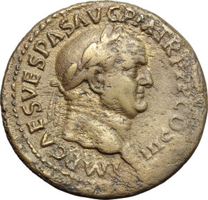 obverse: Vespasian (69-79).  AE Sestertius, 71 AD. Obv. IMP CAES VESPAS AVG PM TR P PP COS III. Laureate head right. Rev. ROMA SC. Roma standing left, holding Victory and spear. RIC 443. C. 418. AE. g. 24.98  mm. 34.00   A superb portrait on medallic flan. Orichalcum surfaces with golden toning. Good VF.