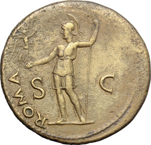 reverse: Vespasian (69-79).  AE Sestertius, 71 AD. Obv. IMP CAES VESPAS AVG PM TR P PP COS III. Laureate head right. Rev. ROMA SC. Roma standing left, holding Victory and spear. RIC 443. C. 418. AE. g. 24.98  mm. 34.00   A superb portrait on medallic flan. Orichalcum surfaces with golden toning. Good VF.