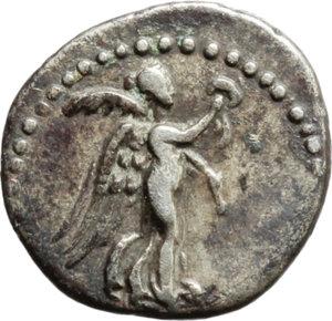 reverse: Vespasian (69-79).  AR Hemidrachm, Caesarea mint, Cappadocia. Obv. Laureate head right. Rev. Nike advancing right, holding wreath and palm. BMC 20. 47,17. AR. g. 1.68  mm. 14.00    VF.