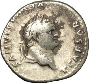 obverse: Titus as Caesar (69-79).  AR Denarius, 78 AD. Obv. T CAESAR VESPASIANVS. Laureate head right. Rev. ANNONA AVG. Annona enthroned left, holding sack of grain ears on lap. RIC (Vesp.) 218. C. 17. AR. g. 3.36  mm. 18.00   Brilliant and lightly toned, with dark spots. VF.