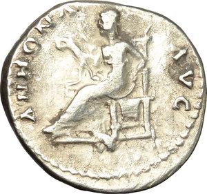 reverse: Titus as Caesar (69-79).  AR Denarius, 78 AD. Obv. T CAESAR VESPASIANVS. Laureate head right. Rev. ANNONA AVG. Annona enthroned left, holding sack of grain ears on lap. RIC (Vesp.) 218. C. 17. AR. g. 3.36  mm. 18.00   Brilliant and lightly toned, with dark spots. VF.
