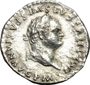 obverse: Titus (79-81).  AR Denarius, 79 AD (after July 1st). Obv. IMP TITVS CAES VESPASIAN AVG P M. Laureate head right. Rev. TR P VIIII IMP XV COS VII PP. Venus standing right, naked except for drapery around hips, leaning on cippus, holding spear and helmet. RIC 15 a. AR. g. 3.13  mm. 17.50   An attractive example, perfectly centred, of this fascinating type. Minor roughness, otherwise good VF/About EF.